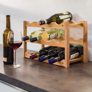 Casier à bouteilles en bois Relaxdays